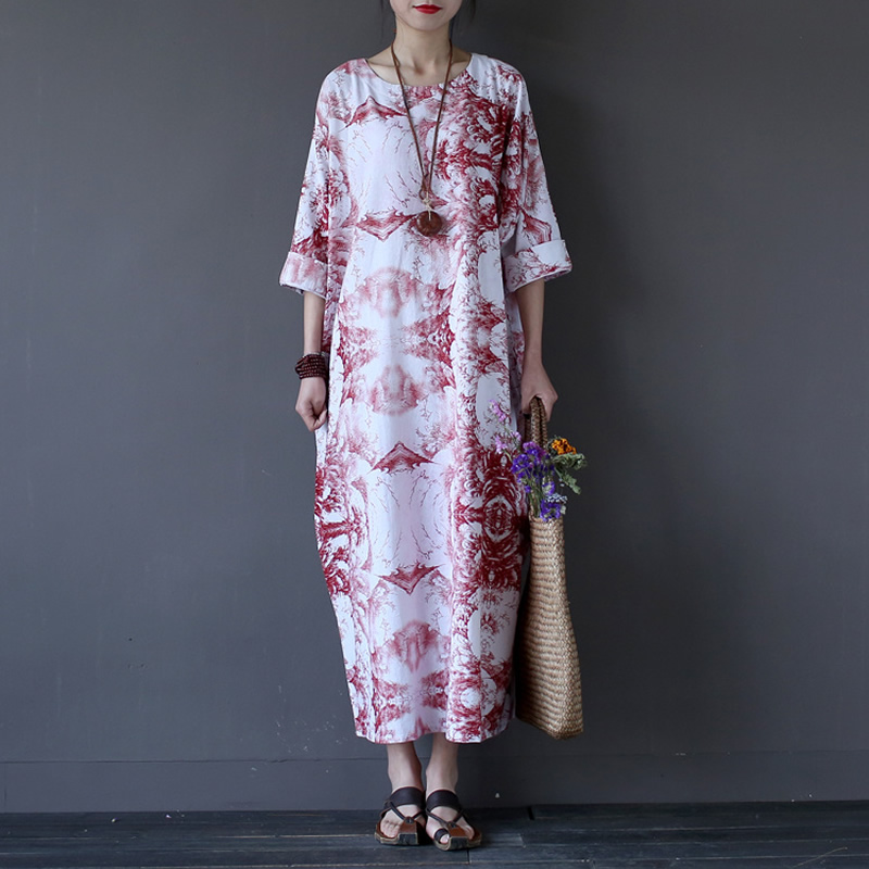 Chinese style Vintage Print Women Long Dress O neck Loose Casual Plus size Summer Maxi Dress