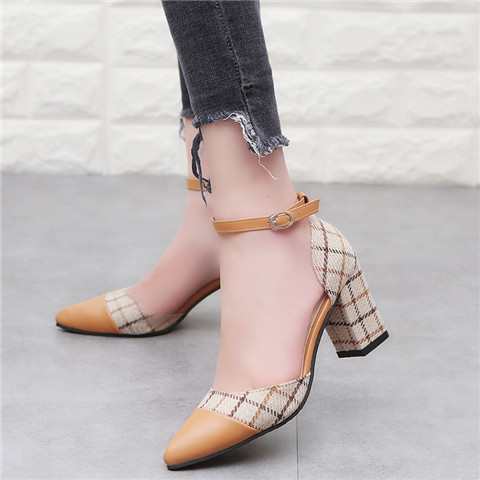 Enthusiastic Classic Shoes Women Pumps Thick Heels Shoes Ankle Strap Lattice Women's Stiletto Buckle Shoes Chaussures Invigorating Blood Circulation And Stopping Pains