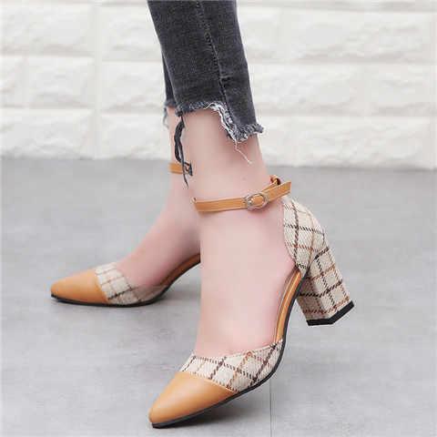 Klasik Ayakkabı Kadınlar Kalın Topuklu Pompalar Ayakkabı Ayak Bileği Kayışı Kafes kadın Stiletto Toka Ayakkabı Chaussures