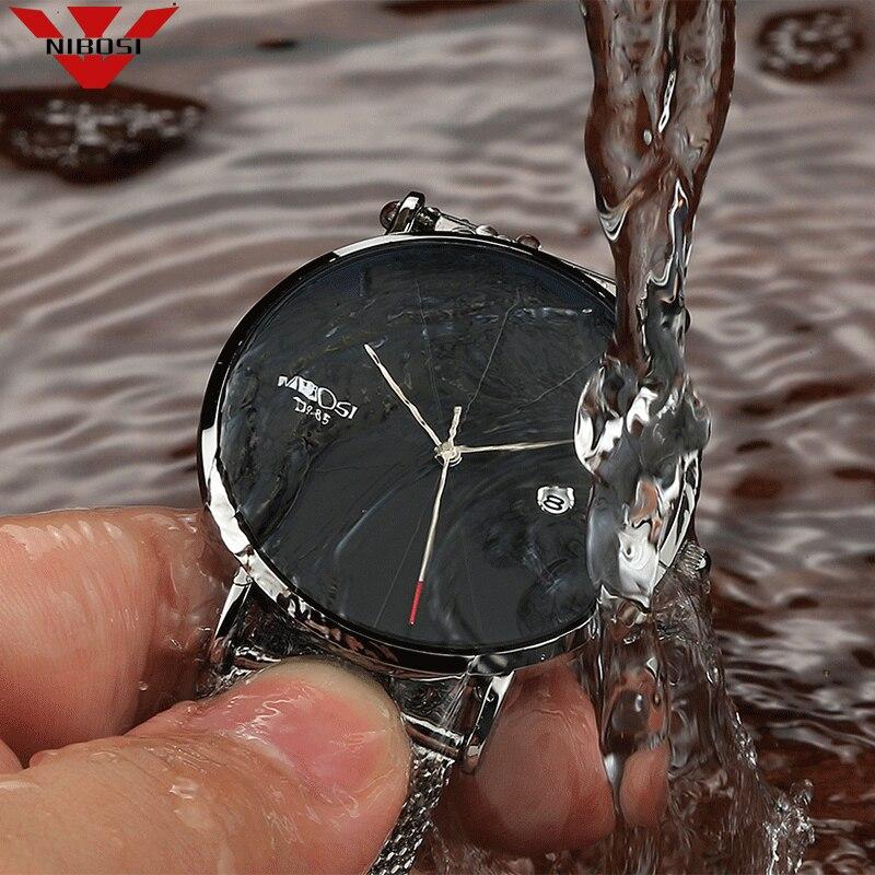 NIBOSI Unisex Style Watch Men and Women Watch Luxury Famous Top Brand Dress Fashion Watch Quartz Wristwatches With Milanese Band