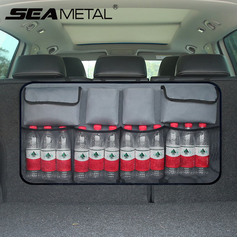 Auto Stamm Zurück Sitz Organizer Tasche SUV Net Mesh Lagerung Verstauen Aufräumen Folding Taschen Trash Automobil Taschen In Autos Zubehör