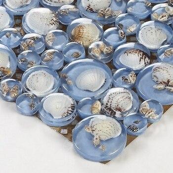 Dosseret De Cuisine Bleu | Grand Et Petit Rond Bleu Mer Shell Mosaïque Carreaux Résine Mosaïque Pour Cuisine Dosseret Carrelage Salle De Bains Douche Cheminée Couloir