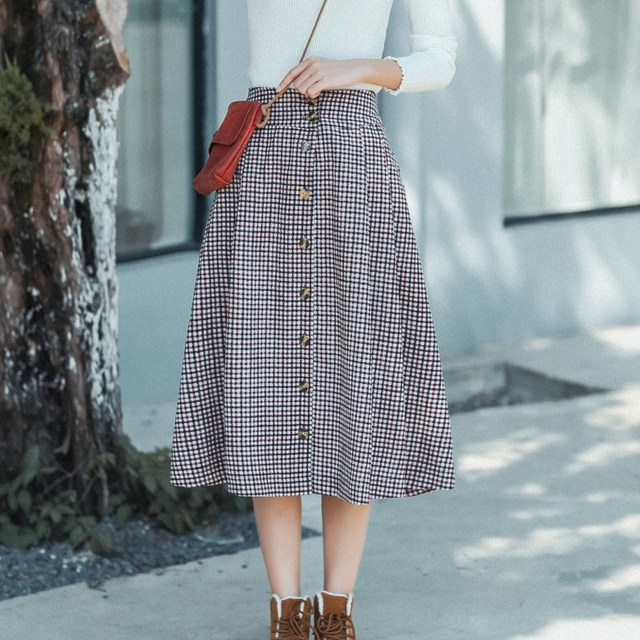 57505ddd2a16c US $15.28 45% OFF|Preppy Style Spring Autumn Women Corduroy Midi Skirt  Vintage Plaid All Match Casual Mujer Saias Elegant Sweet Girl Party  Skirts-in ...