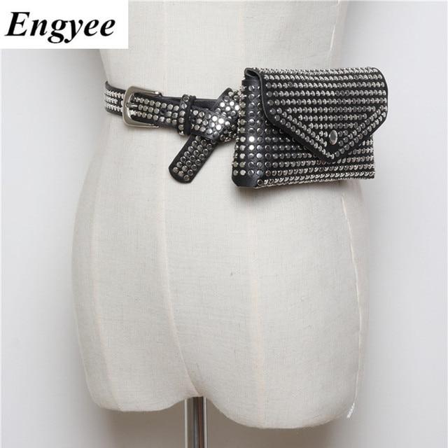 Engyee Women's Revit Waist pack PU Leather Waist Pouch Money Belt Bags Fashion Waist Bag Women Fanny Packs Female Mobile Bag