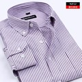 2016 Spring Men's Oxford Dress Shirts Men Long Sleeve Casual Social Shirts MAN Striped Camisetas Masculinas 5xl Plus Size