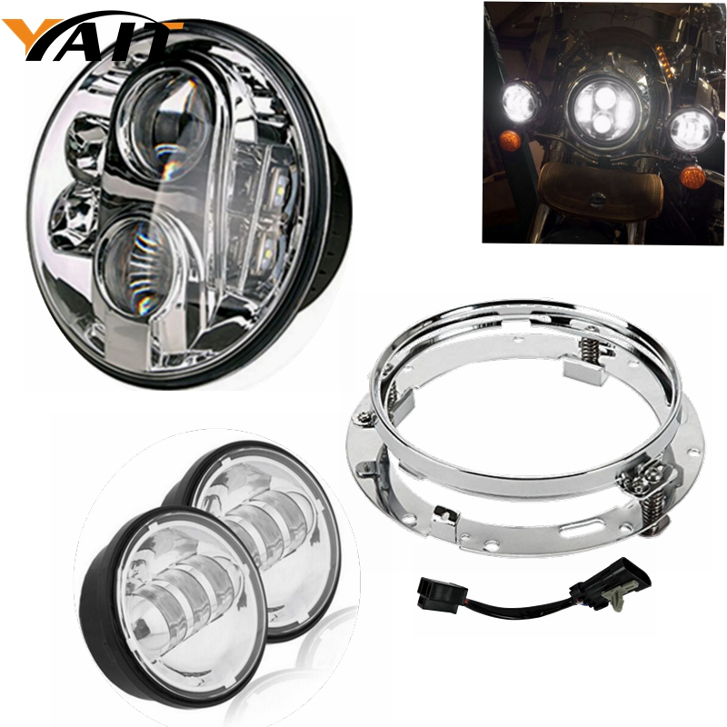 1 PC 7inch LED Headlight Round Ring Chrome Mounting Bracket For Jeep Harley Motorcycle harley davidson headlight price