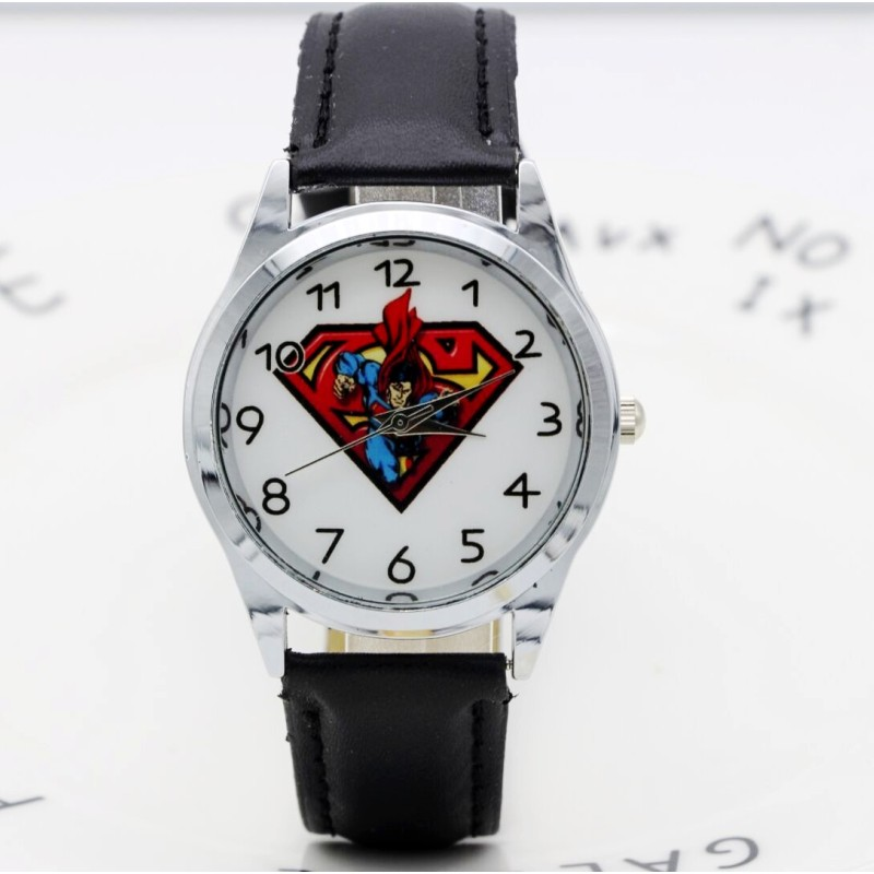Cartoon Children Superman Watch Fashion Lovely Cute Kids Watches For Student Boy Girl Leather Sports Clock Saat