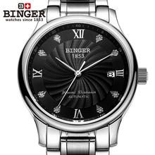 Suisse BINGER hommes de montres de luxe 18 K or montres Mécanique Bracelets complet en acier inoxydable Montres B-603M-7