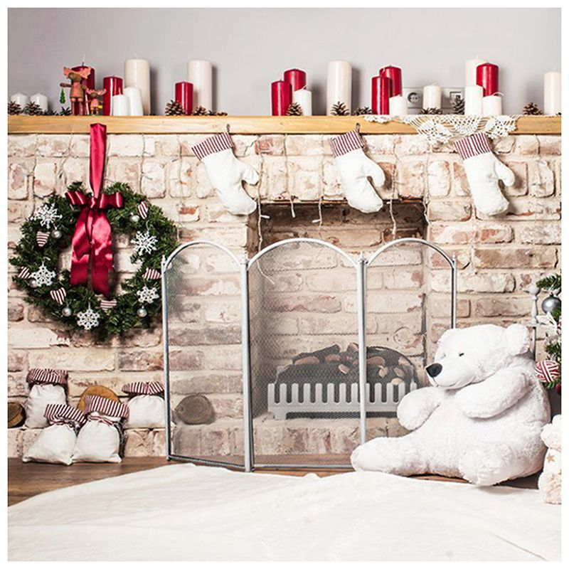 EDT-7x5ft Christmas Tree Backdrop Photography Brick Fireplace for Newborn Christmas Photo Studio Background allenjoy christmas backdrop tree gift chandelier fireplace cute professional background backdrop for photo studio