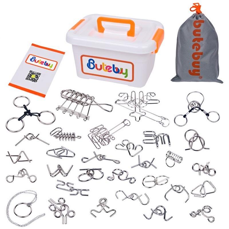 Sea Team 30-Pack de casse-tête assortis en fil métallique IQ Puzzles avec boîte en plastique paquet grand cadeau de jouets éducatifs d'intelligence