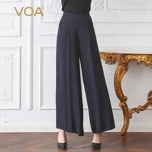VOA 2017 Autumn Winter Office Lady Plus Size Brief Solid Heavy Silk Wide Leg Pants Dark Blue High Waist Women Trouser KLH05901