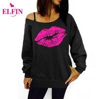 Women Sweatshirts Sexy Lips Print Hoodies Long Sleeve Camisas Femininas 2016 Off Shoulder Top Raw Edge