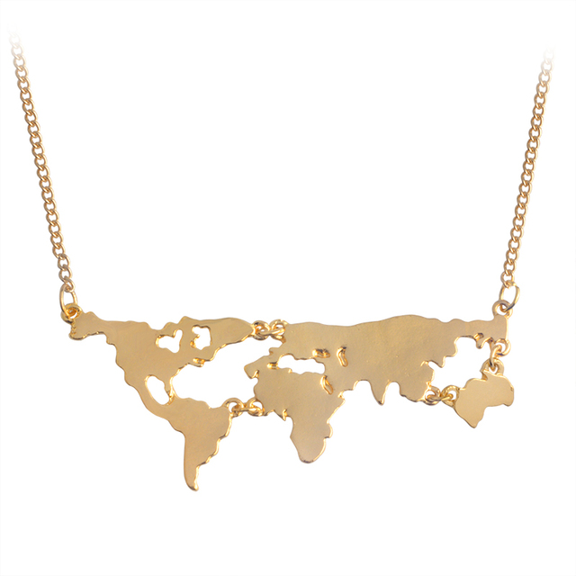 Globe world map pendant long necklaces gold silver black simple globe world map pendant long necklaces gold silver black simple charm creative earth jewelry gift for gumiabroncs Image collections