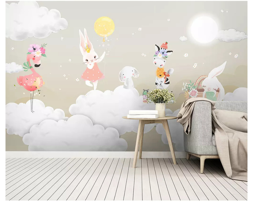 Beibehang Modern Silk Cloth 3d Wallpaper Nordic Simple Fashion Elegant Air Balloon Bunny Children's Room Wall Papers Home Decor