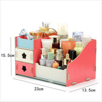DIY Desk Wood Storage Box Case Organizer For Cosmetic Storage Jars Home Decoration Accessories
