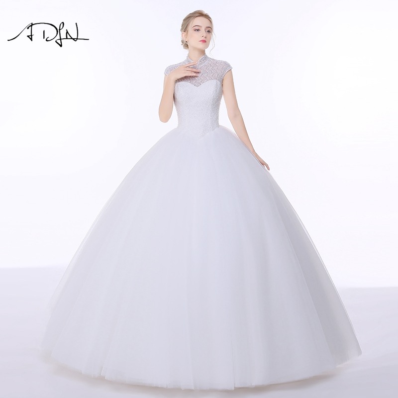 ADLN Vintage High Collar Wedding Dresses with Open Back Tulle Cap Sleeve A-line Puffy China Bridal Gown