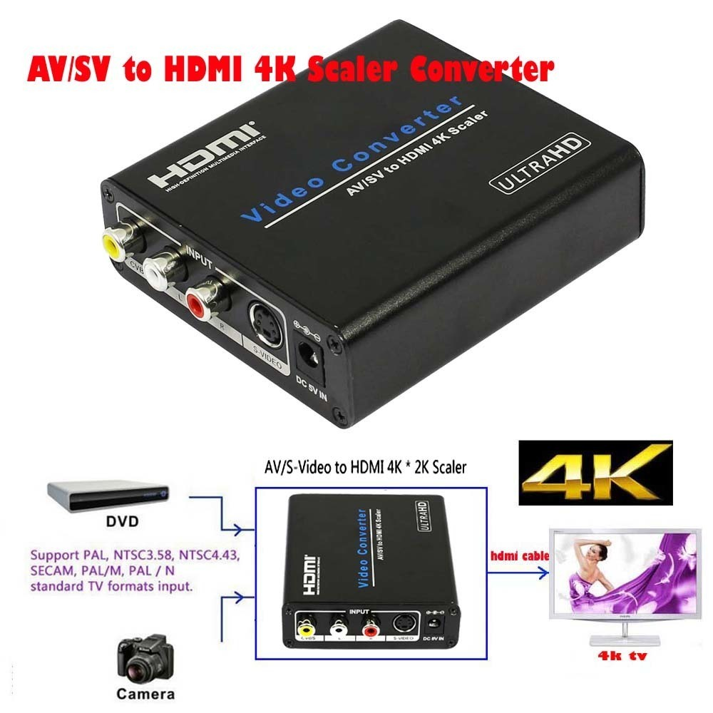 Portable UHD 4K Upscaler Composite AV CVBS RCA S Video to HDMI Scaler Converter Analog to