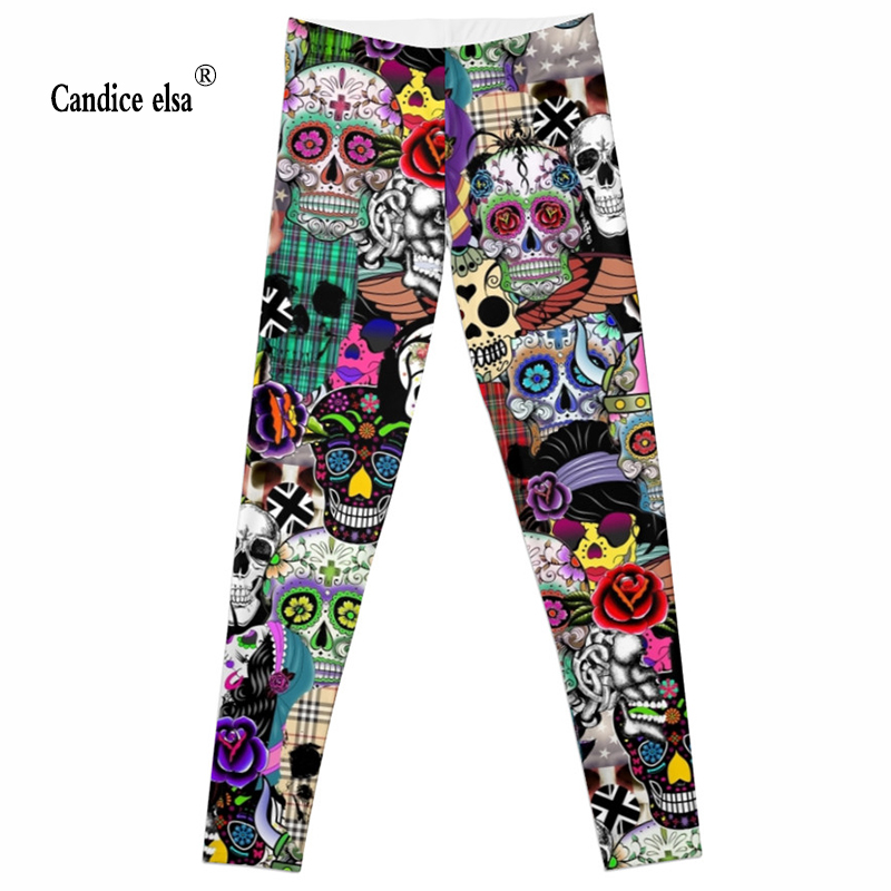 CANDICE ELSA new women leggings skull printed leggins gothic elastic fitness female pants plus size drop shipping s-4xl