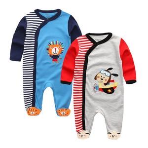 Image 5 - תינוק בני Rompers חמוד קריקטורה 100% כותנה ארוך שרוול תינוק בגדי עבור 0 12 m Infantil יילוד תינוקת בגדי Roupas דה bebe