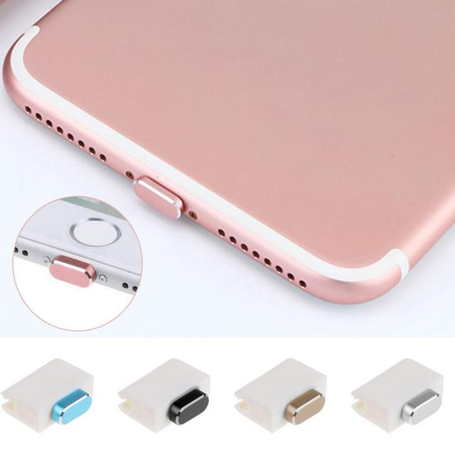 For IPhone 7 Metal Skin PC Charger Port Anti Dust Plug Cap Stopper Cover Phone Accessories