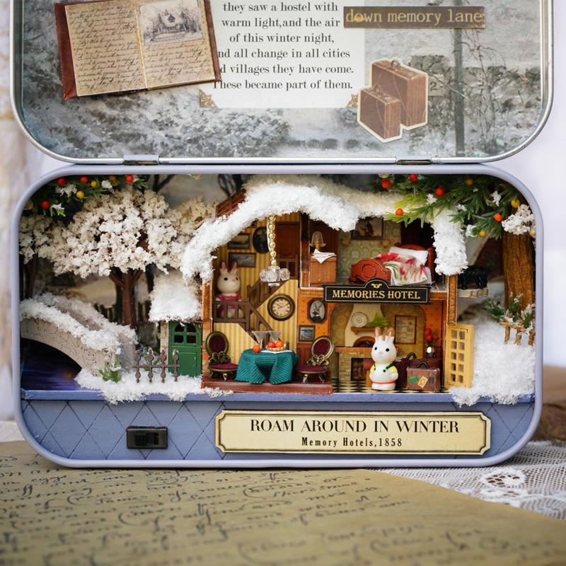 Tovar Diy Doll House Box Theatre Wooden Dollhouse Miniature