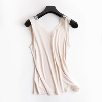 Summer silk lace v neck tank top short female plus size solid undershirt