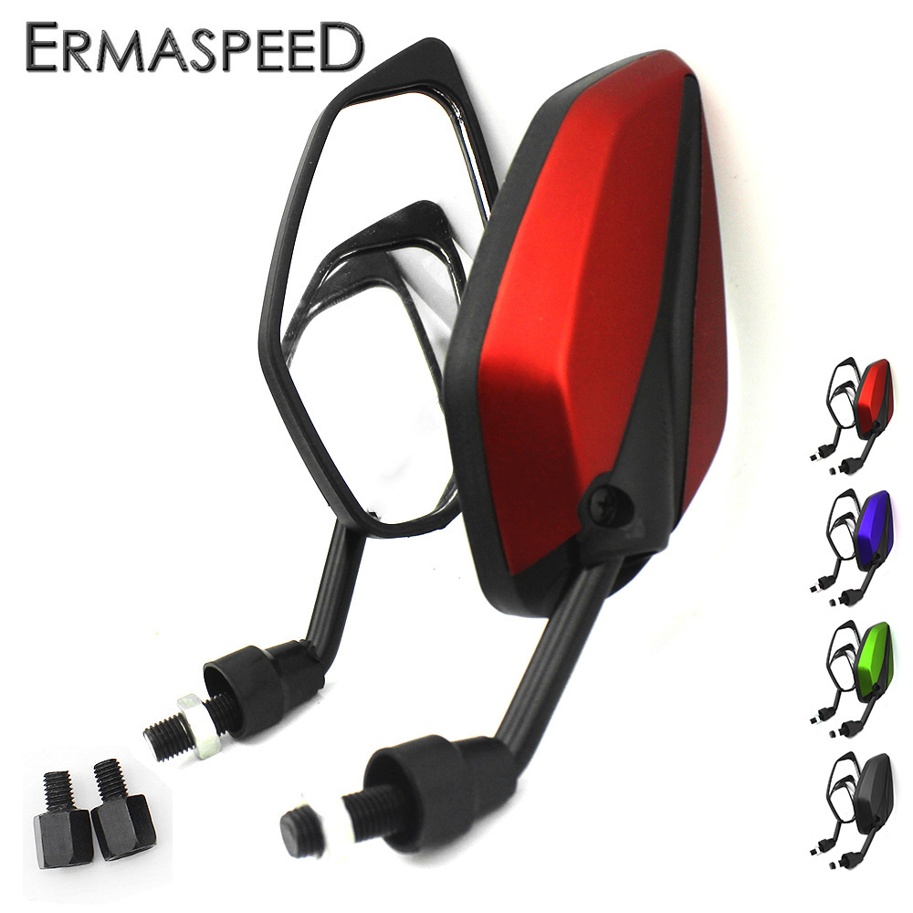 Fashion Universal Big Mirror Scooter Rearview Mirrors Leave Shape Front Side Rear View Mirror for Honda Kawasaki Yamaha Benelli|mirror for honda|side rear view mirror|mirrors scooter - title=