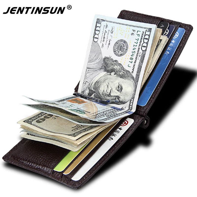 Fashion New Unisex RFID Money Clips Genuine Leather 2 Folded Open Clamp For Money Mens Wallets Card Slot Money Holder For Women