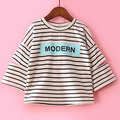 wholesale(5pcs/lot)- 2017 spring autumn letters striped arm all-match T-shirt for age 2-7 child girl