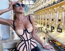 High Quality Slip Khaki Striped Black Lace Rayon Bandage Dress Club Evening Party Dress цена