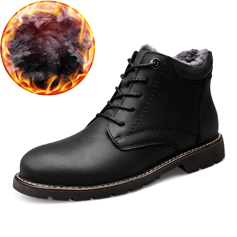 Big Size47 Men Plus Boots Winter Genuine Leather High Top Boots Round Toe Lace Up Shoes for Men's Hombre Zapatos Hard-wearing popular men martin boots winter with fur flat high top hot round toe lace up boots hard wearing warm 2018 cotton boots for male