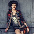Kimono Folk Autumn Women Jacket Embroidery Cardigan Vintage Print Pattern Short Jacket Coat 3/4 Sleeve chaquetas mujer C5708