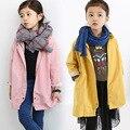 Размер120 ~ 160 дети весна верхняя одежда для детей осень одежда Детей Пальто для Девочек Ветровка детская Куртки желтый розовый