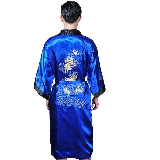 bf75ede20b Reversible Two-Face New Chinese Men s Silk Satin Robe Embroidery Dragon  Kimono Bathrobe Gown Sleepwear Belt One Size 011306