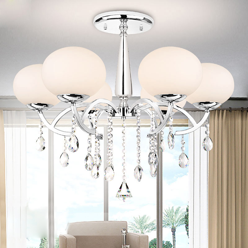 Elegant Modern Crystal 6 Light Chandelier Hanging Fixture Lighting with Glass Shade for Bedroom Living Room Dinning Room PL439-6 restaurant white chandelier glass crystal lamp chandeliers 6 pcs modern hanging lighting foyer living room bedroom art lighting