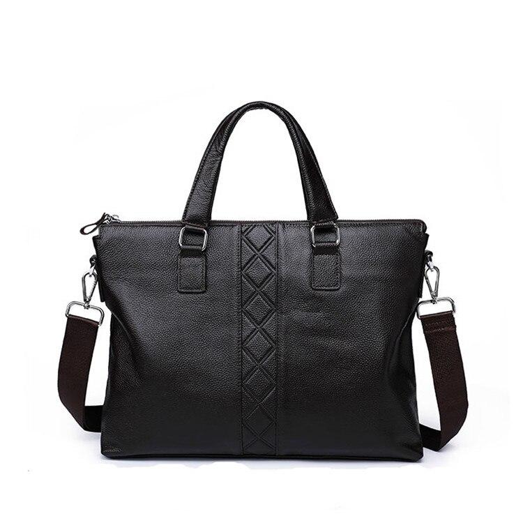 Genuine Leather Business Briefcases Men Big Easy Laptop Diamond Lattice For 14 Inch Handbag Casual Computer Messenger Bags