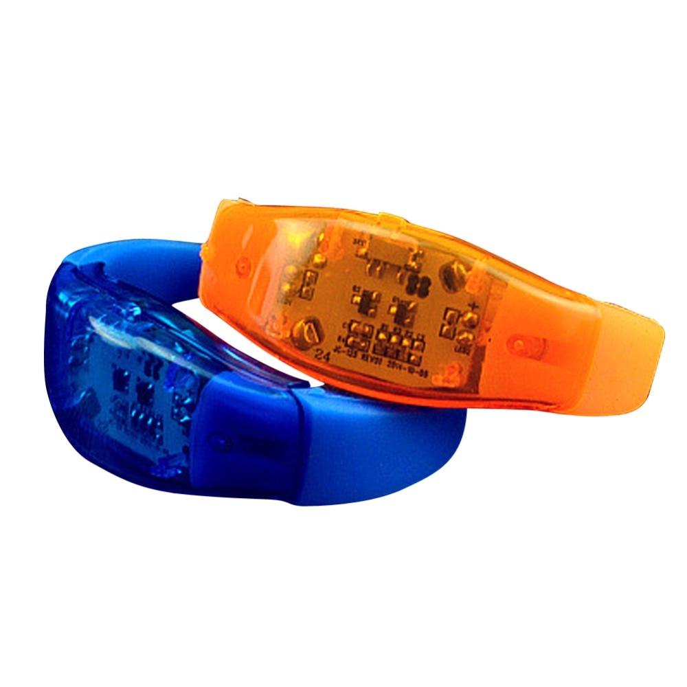 En gros unisexe coloré lumineux LED Bracelet Vibration Sonore Silicone Bracelets Bracelet Dragonne pour la fête Rave Concert