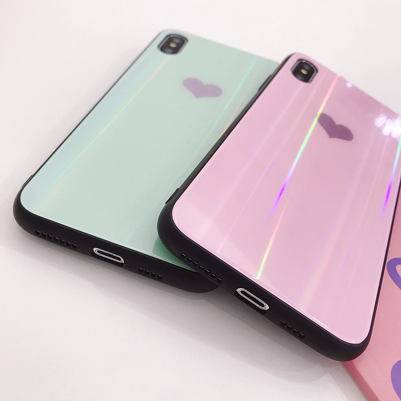 Luxury Tempered Glass Case For iphone X XS Max XR Laser Love Heart Back cover For iphone 6 6S 7 8 Plus fundas coque in Fitted Cases from Cellphones Telecommunications