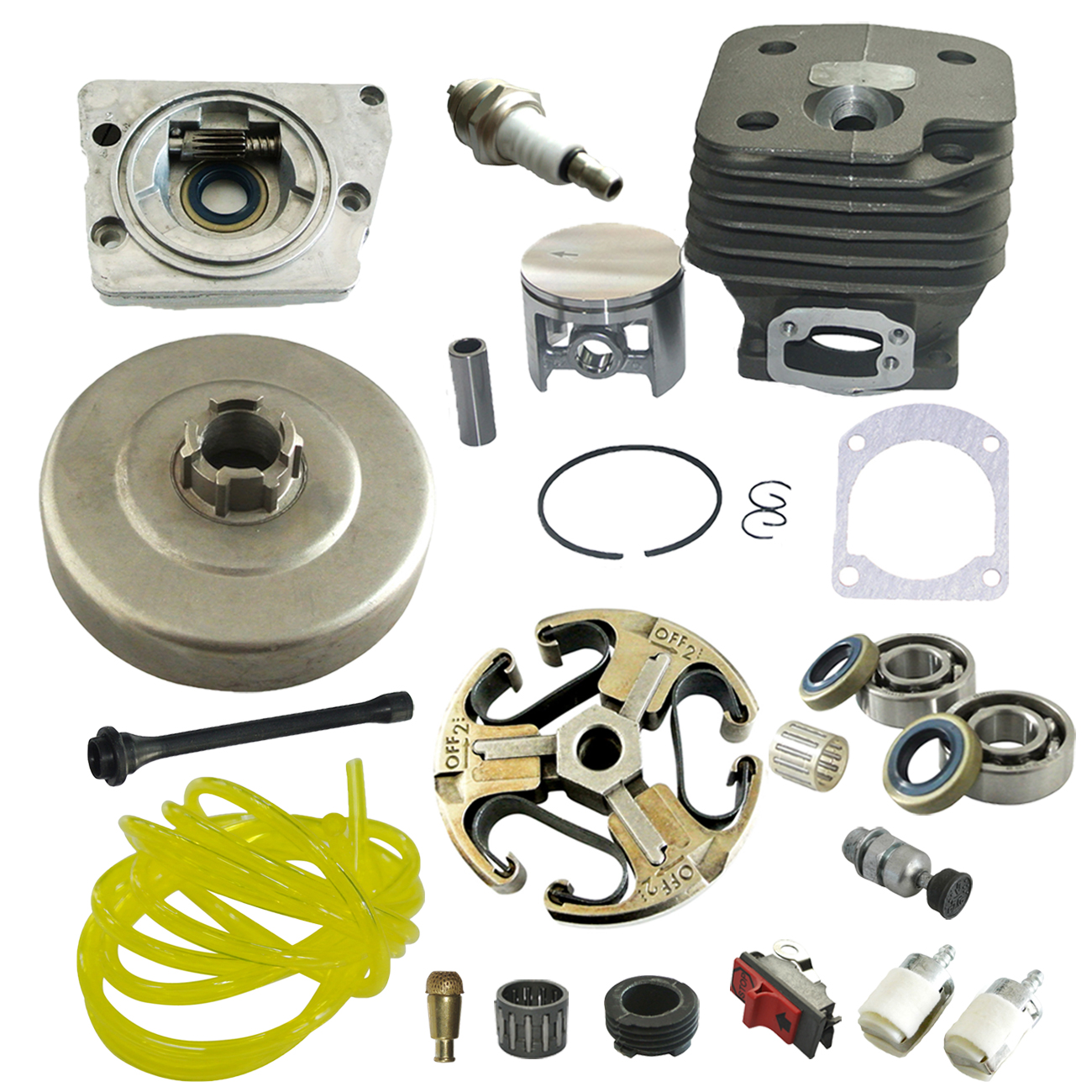 52mm Piston & Clutch Drum & Oil Pump & Cylinder Kit Fits For HUSQVARNA 268 272 Chainsaw oil pump with 2pcs worm gear wheel fits husqvarna 61 266 268 162 272 replace 501512501 501513801