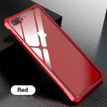 цены Crystal Transparent Tempered Glass Case For iPhone 7 8 Plus Metal Aluminum Frame Hard Glass Back Cover Case For iPhone 7 8 X