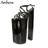 Sorbern/черные босоножки на очень высоком каблуке с ремешком на пятке на массивном каблуке, женская обувь, размер 11, обувь на очень высоком кабл