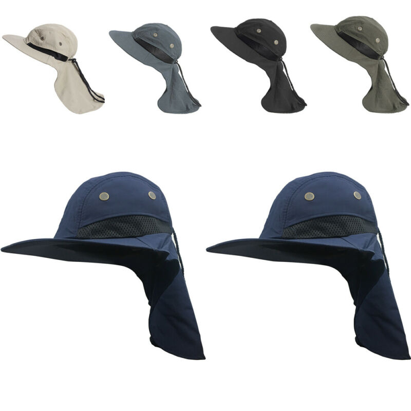 Fishing Outdoor Hiking Boonie Hunting Snap <font><b>Hat</b></font> Brim Ear Neck Cover Sun Flap Cap Outdoor Function Sun Protection Cap image
