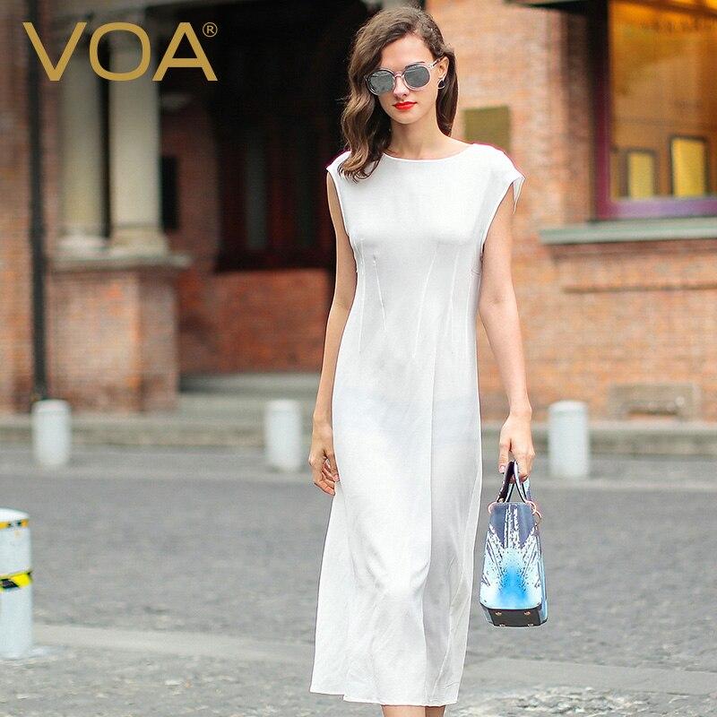 VOA Kort Solid Vit Silke Crepe Normcore Damklänning Kortärmad Mid - Damkläder - Foto 1