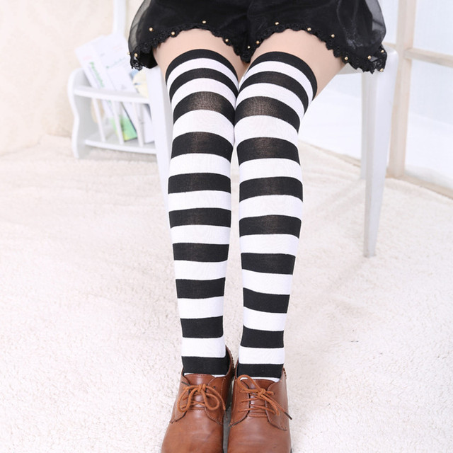 1d396318f Hot New Sexy Women Girl Striped Cotton Thigh High Stocking Over the Knee  Socks Fashion Stockings For Dating Cosplay 7colors