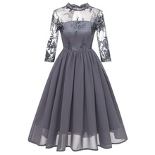 new arrival 2019 chiffon lace embroidery long dress for wedding party dresses evening vintage luxury formal women elegant