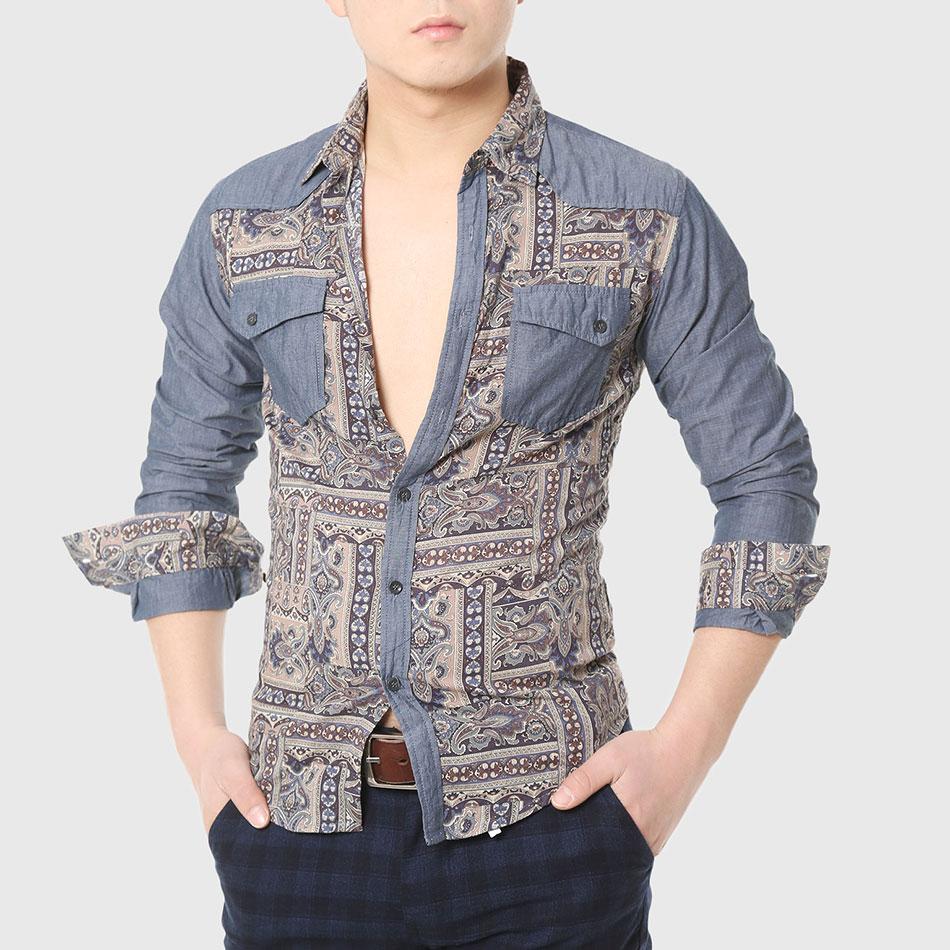 7cd16e4c3 مصمم قمصان الرجال الرجال العرقية الطوطم طباعة قميص العمل طويلة الأكمام خليط  ممسوك القوطية بارد الصينية أنيق