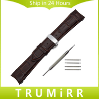 Curved End Genuine Leather Watch Band For Tissot 1853 Watch Band Butterfly Clasp Strap Wrist Bracelet