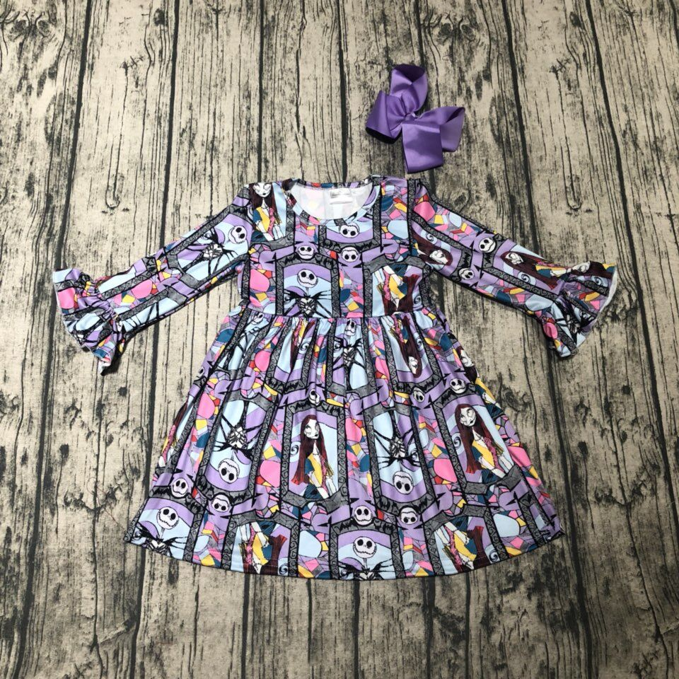 new arrivals Halloween Fall/winter baby girls ghost skull print light purple children clothes milk silk ruffles matching bow scoop neck halloween ghost print dress