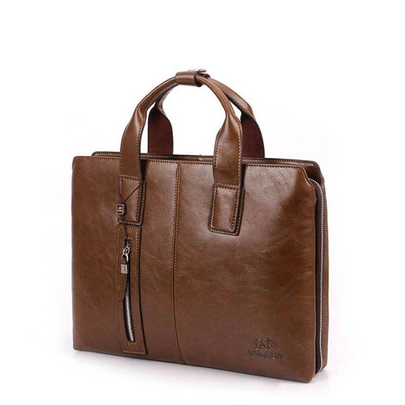 HOT SALE PU Leather Briefcases 14  Laptop Bag Vintage Style Handbag Dark Brown PU Leather M0003 hot sale natural looking dark brown