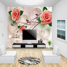 цена на 3D roses flower wallpaper non-woven eco-friendly waterproof living room sitting room bedroom TV sofa background 3d wall murals